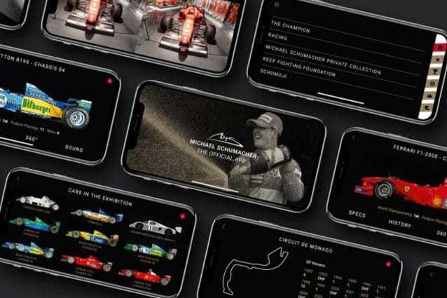 Interface official app of Schumi