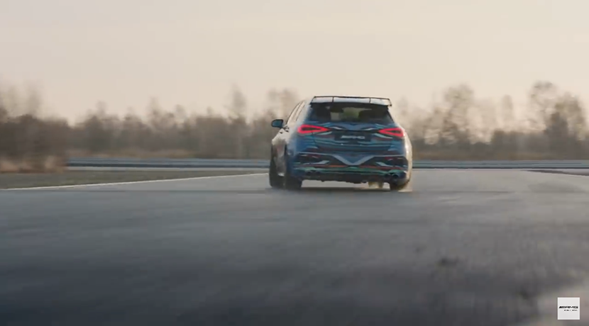 Teaser of the Mercedes-AMG A45 camouflage